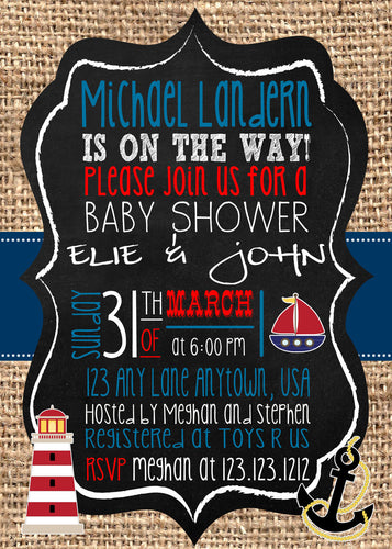 Nautical Chalk baby Shower white Invites