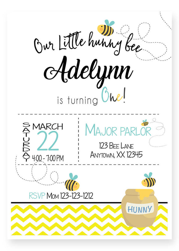 First birthday bee personalized invitation
