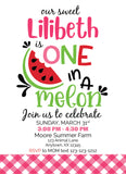 WATERMELON one in a melon first birthday girl invitation, first birthday, girl first birthday