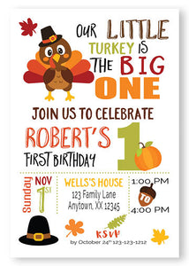 Our little turkey birthday invitation