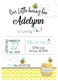 LITTLE HUNNY BEE FIRST BIRTHDAY INVITATION