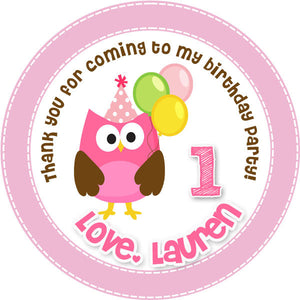 Sweet Pink Owl Favor Tags - Invitetique