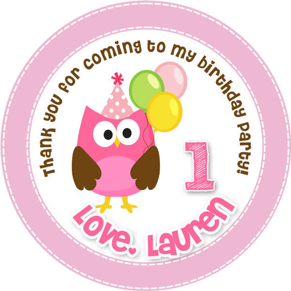 Sweet Pink Owl Favor Tags