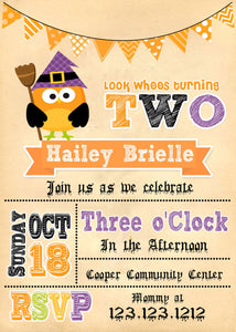 Witch Owl Birthday Invitations - Invitetique