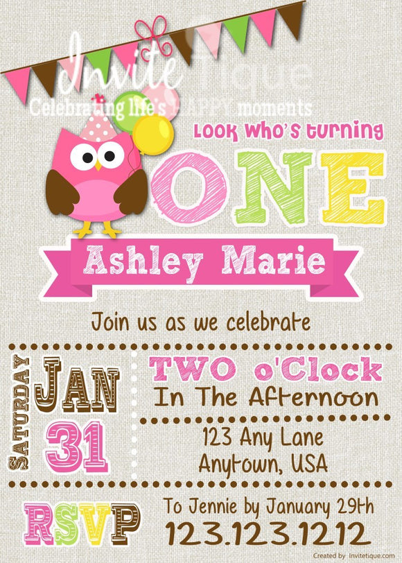 Pink Owl Birthday Invitations - Invitetique