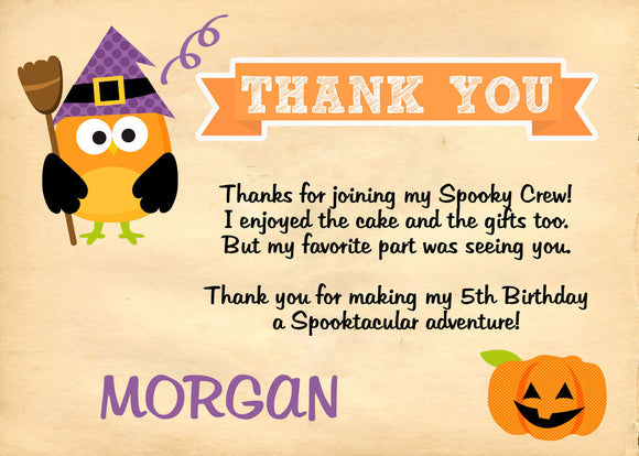 Witch Owl Thank you Cards - Invitetique