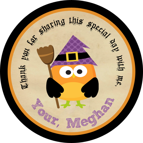 Witch Owl Circle Favor Tags - Invitetique