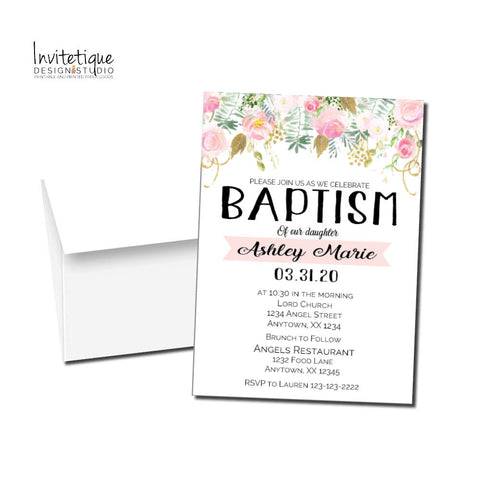 Baptism Pastel Roses Invitations - Invitetique
