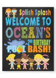 Pool Party personalized welcome sign