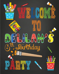 Paint party welcome yard sign