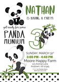 panda 1st birthday invitation