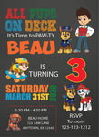 Paw patrol personalized birthday invitation, birthday invitation, personalized digital invitation, printable