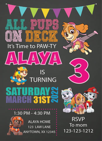 paw patrol girl birthday invitations, personalized invitation, paw patrol birthday