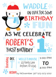 penguin onederland birthday invitation