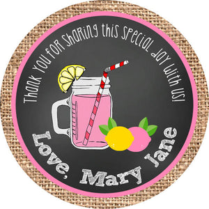 Pink Lemonade Circle Favor Tags - Invitetique
