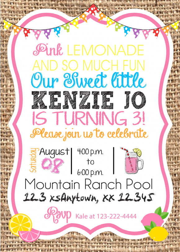 Pink Lemonade Invitations - We print - Invitetique