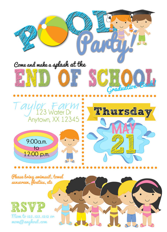 Graduation Pool Party Bash Invitations - Invitetique