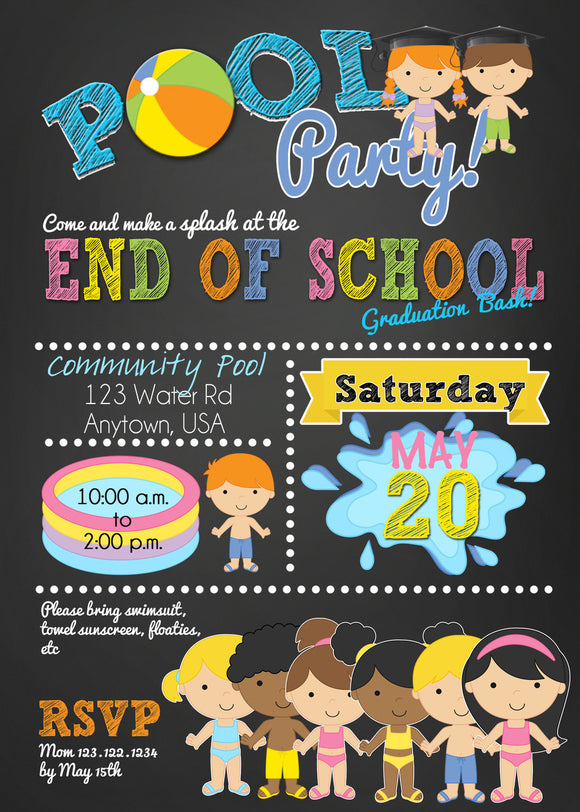Pool Party Graduation Invitations - Invitetique