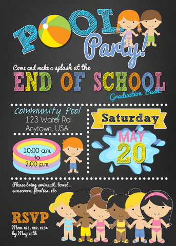 End of the School year Boy and Girls Pool Party Bash - Invitetique