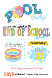 Pool Party End of Summer Invitations - We print - Invitetique