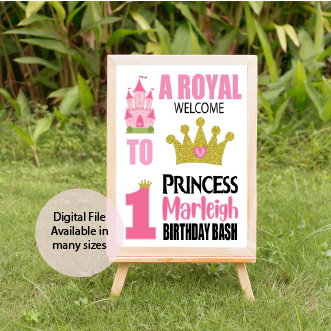 Pink and gold princess birthday sign