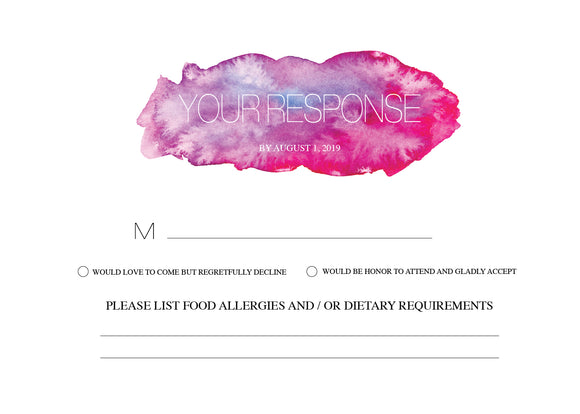 Pink Purple Watercolor Brushes RSVP Card - Invitetique