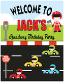 race red car birthday party welcome sign