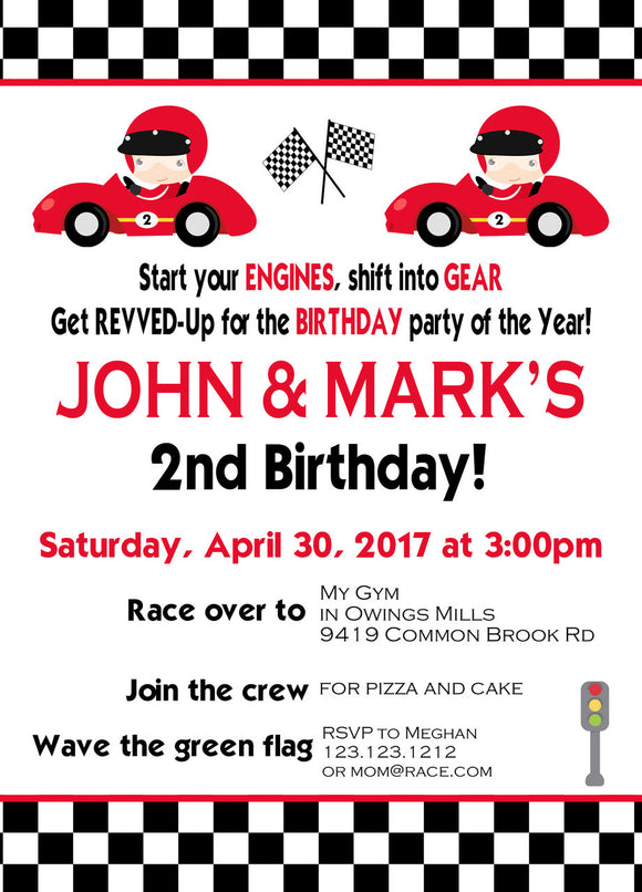 Twin Race Car Birthday Invites - Invitetique