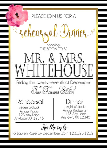 Elegant Rehearsal Dinner Stripes invitations - Invitetique