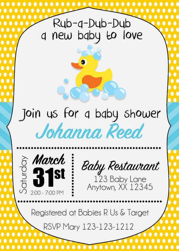 Rubber Duck Baby Shower Invitation - Invitetique