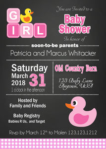 Pink Rubber Duckie Baby Shower Invitation - Invitetique