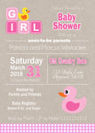 Pink Kraft Rubber Duck Baby Shower Invitation - Invitetique