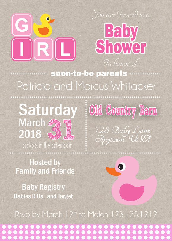 Girl baby shower invitations invitetique pink kraft rubber duck baby shower invitation filmwisefo Image collections