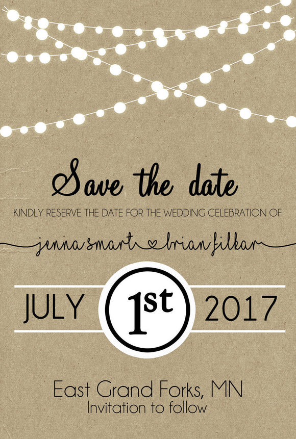 Rustic Kraft Save the Date Card - Invitetique
