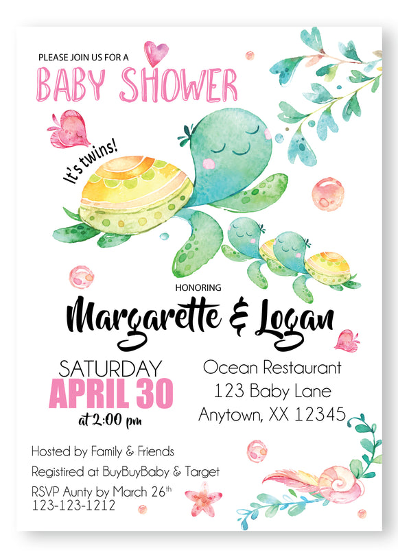 Sea Turtle twin Baby Shower Invitations - DIGITAL - Invitetique