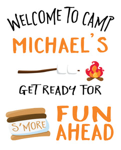 S'mores birthday welcome sign
