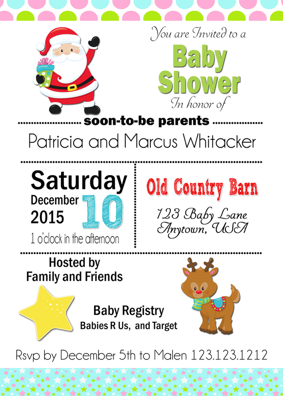 Santa and Rudolf Baby Shower Christmas Invites