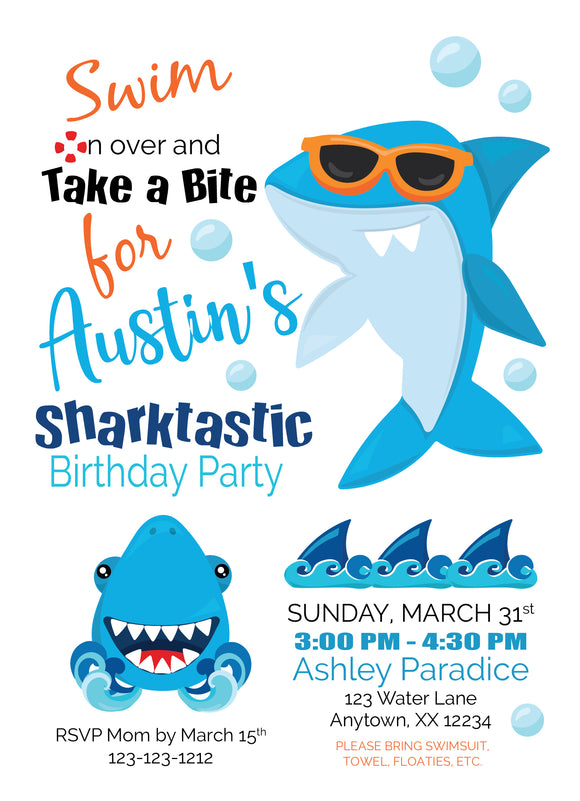 Shark Summer Birthday Party Invitations - Digital - Invitetique
