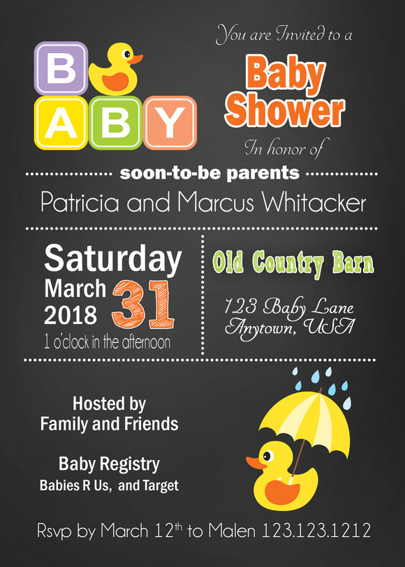Duck Chalkboard Baby Shower Invitation - Invitetique