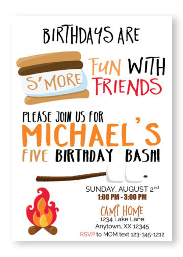 smores cmaping birthday invitation