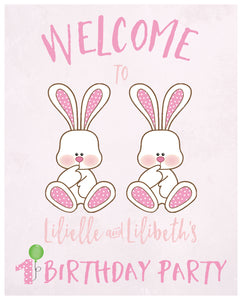 Some bunnies are turning one welcome sign