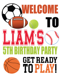 Sports birthday party welcome sign, birthday signage, boy sports welcome door sign