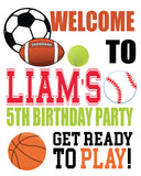 sports birthday personalized welcome poster, sports birthday welcome sign