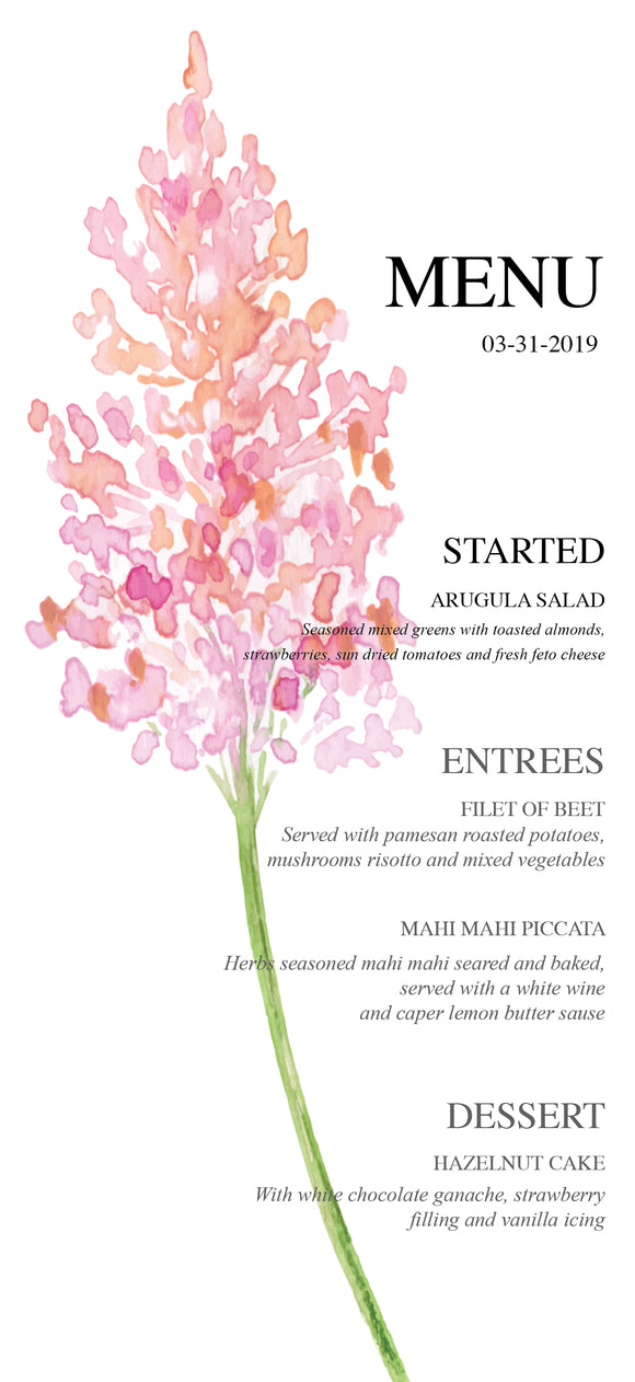 Spring Branch Menu Card - Invitetique