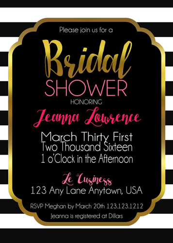 Kate spade Inspired Black and White Stripes Elegant Bridal Invitations