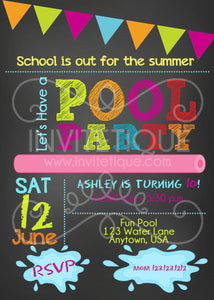 Pool Party Birthday Invitations - Invitetique