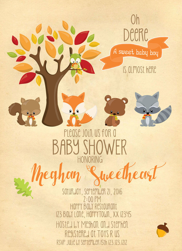 Sweet Woodland Friends baby Shower Invites - Invitetique