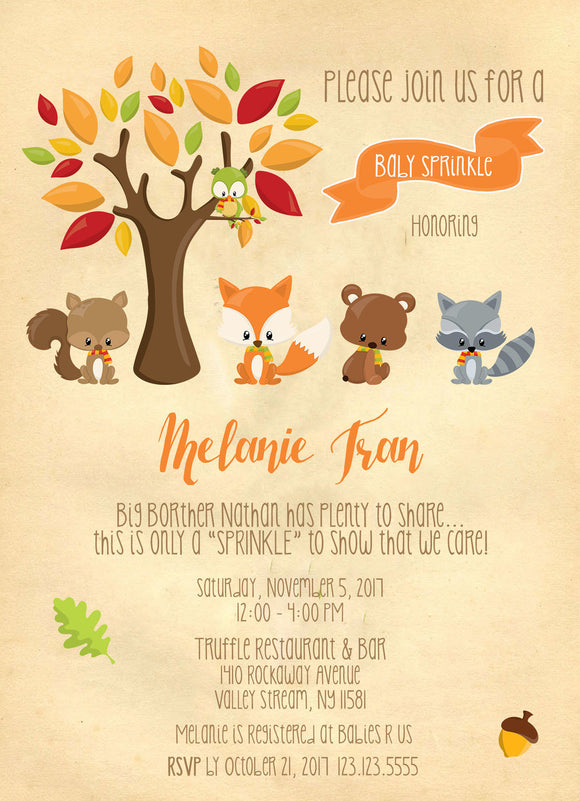 Sweet Woodland Friends baby Sprinkles Invitations - Invitetique