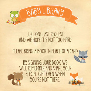 Sweet Woodland Baby Shower Book Request Card - Invitetique