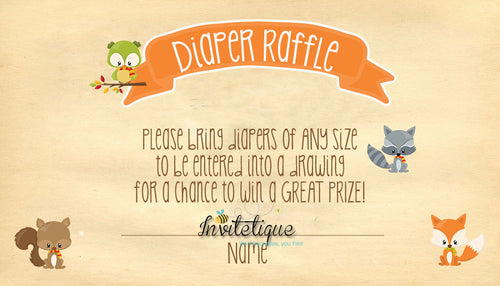 Sweet Woodland Diaper Raffle Ticket